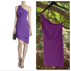 BCBGMaxazria Somara One-Shoulder Purple Dress